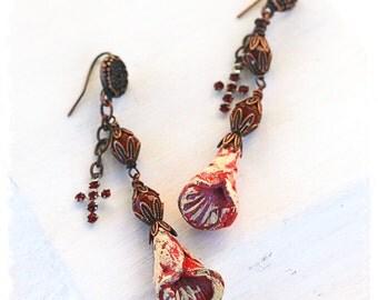 Urban primitive floral earrings - Rustic bohemian earrings with cross - Mexican folk art earrings - OOAK - Polymer clay flower earrings