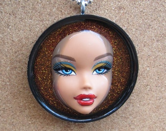 Sassy Lips - Upcycled My Scene Doll Pendant