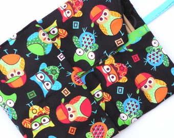 circular knitting needle case - double pointed knitting needle case - organizer -colorful owls on black