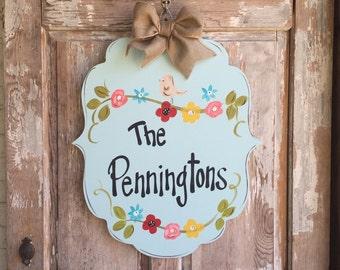 Welcome Sign, Door Art, Door Decor, Hand-Painted, Wreath