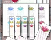 2016, 2017, Printable POCKET size, Calendar Planner,  Instant Download, Monthly Weekly Calendar with Monthly Bookmarks - Filofax Refill