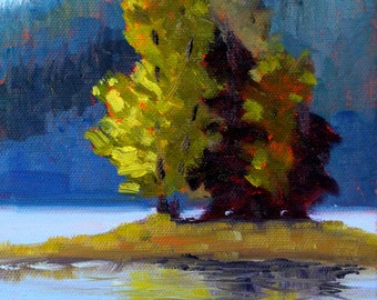 Landscape Oil Painting, Original 6x6 Canvas, Small Northwest, Wall Decor, Lake Trees, Island, Green Blue, Rural, Nature Art