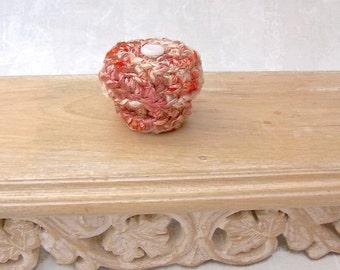 Mini Mod Ring Box Embellished with Vintage Glass Button - Silk Tapestry Trinket Keepsake Gift - Teensy Coral Pink Orange Treasure Box STB081