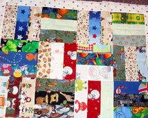 strip quilt top, handmade, toddler size, vintage linens, scrappy, I spy, boy, girl, lap quilt for adult, up-cycled, Eco Friendly,