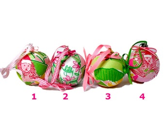 Christmas Ball Holiday Ornaments Made from Assorted Lilly Pulitzer Fabrics Group 3