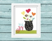 Choose Joy Print.  Whimsical Flowers. Colorful Nursery art. Kitchen art. Inspirational Print. Motivational Quote. digital print.