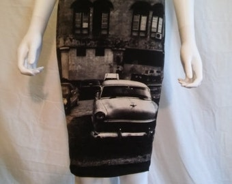 SALE 90s Black and white tight bodycon stretch skirt, car cars skirt