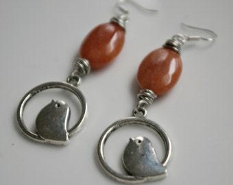 Tweet Tweet Agate Gemstone Earrings