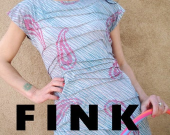 Spin Spin Sugar - iheartfink Original Wearable Art Top, Artist Made Silky Rayon Top, Hand Printed Paisley Jersey Tee