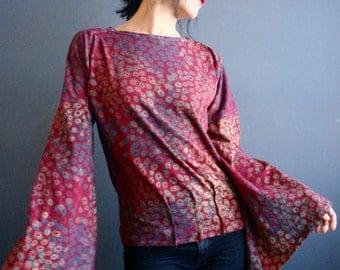 Speak to Me - iheartfink Handmade Hand Printed Womens Dark Red Floral Art Print Kimono Bell Sleeves Jersey Top