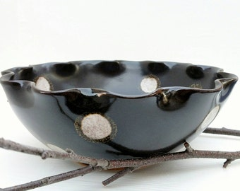 polka dotted serving bowl chocolate brown ready to ship