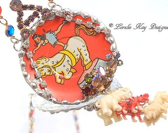 Circus Necklace Lion Tigers & Elephants Oh My Soldered Upcycled Tin Circus Performer Horse Necklace