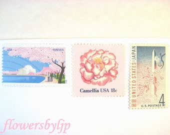 Pink Wedding Postage Stamps, Cherry Blossoms, Dahlia, Camellia, Washington DC, Mail 20 Pink Floral Invitations, 2 oz 68 cents postage unused
