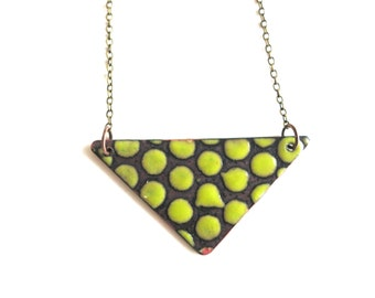 Chartreuse Green Enamel Necklace