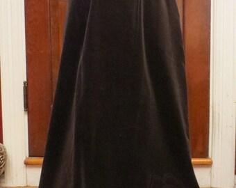 ON SALE Vintage 1970's Brown Velvet Skirt Floor Length Medium Union Label
