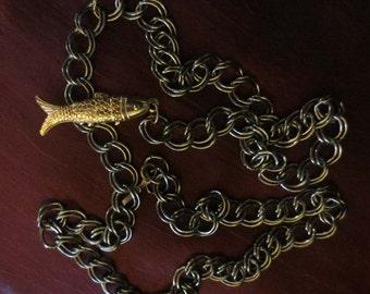 SALE Vintage 1960's Aged Brass Chainlink Chain Belt Fish Charm