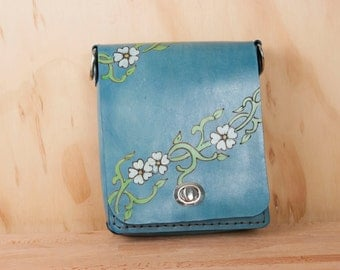 Small Leather Cross body Bag - Handmade Purse in the Willow Pattern with flowers - Mini Purse or Shoulder Bag in blue leather