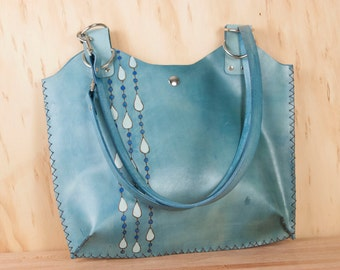 Leather Tote - Purse - Handbag - Blue leather in the Rain pattern - Modern Raindrops