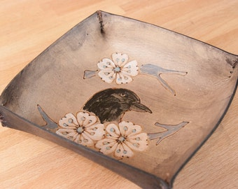 Valet Tray - Catch-All - Leather Tray - Ring Tray - Jewelry Tray - Bird and cherry blossoms in the Heather pattern - crow blackbird raven