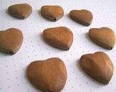 Wooden Heart beads - carved - flat back - 25mm - 8 pieces