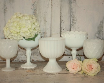 Vintage milk glass planter, milk glass collection, white vases, set of 5 shabby chic wedding decor, milk glass set, wedding table decor