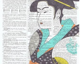 Pretty picture.Geisha girl.asian.blue.Birthday Gift, Antique Book Page Print.buy 3 get 1 FREE.japanese.vintage.french.paris.kimono.art. deco