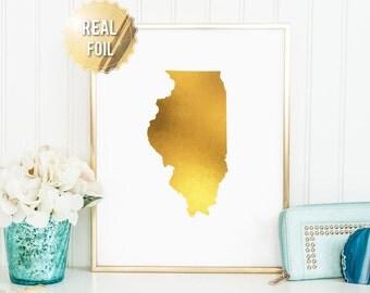Illinois Wall Art - Gold Illinois Print - Real Gold Foil -  Illinois State Map - Gold IL - Illinois State University Gift - Home State Print