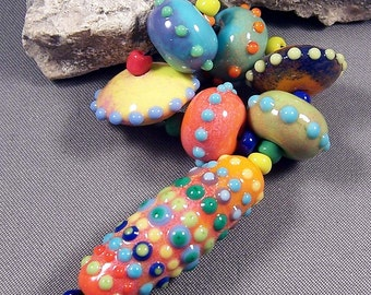 Handmade Lampwork Bead Set by Monaslampwork - Dots, Colors, and Enamels - Multiple dots and enamels, full of color Handmade by Mona Sullivan
