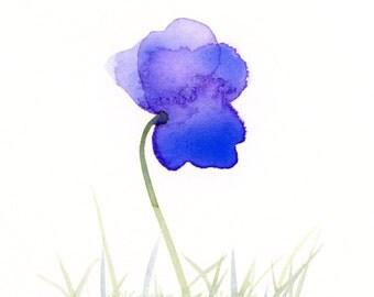 "Original watercolor painting of a purple flower: ""Purple Field 1"""