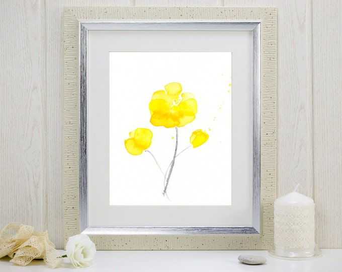 """Yellow watercolor flowers print: """"Sunshine Blossoms"""""""