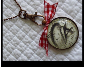 I've Got My Eye On You pendant...gift boxed with chain and READY to SHIP, black and white, french,vintage, red and white, art pendants