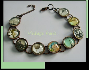 Vintage Paris bracelet, altered art  bracelet...ready to ship with gift box,  jewelry, Paris, french, breakfast at tiffanys, Eiffel Tower