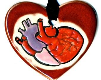 Anatomically Correct Heart in Heart Ceramic Necklace in Red