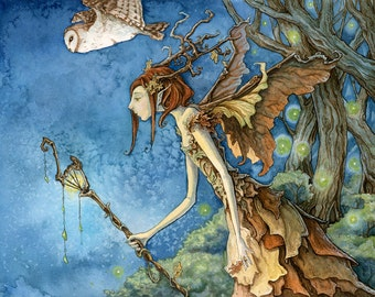 Woodland Fairy Giclee Print, 8x10 printed on 11x14 Paper