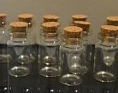 10 22mm x 40mm glass vial bottles cork top miniature craft