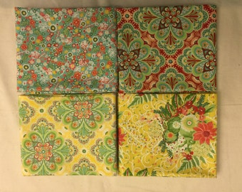 Moda Fabrics Fat Quarter Set of 4 FLORA by Lauren and Jessi Jung