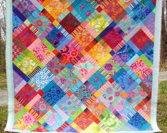 Queen King Quilt Kaffe Fassett Patchwork Bold an Beautiful Design