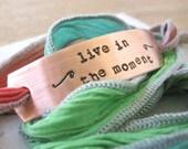Live In the Moment Bracelet, Inspiration Bracelet, choose ribbon color, inspiring bracelet, motiviational jewelry, embrace the moment