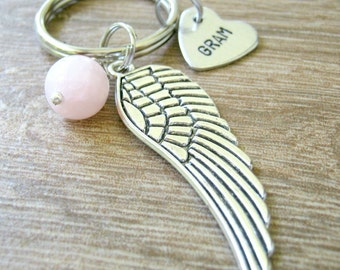 Personalized Angel Wing Keychain, loss of Grandma keychain, choose tiny heart, bead color, memorial keychain, remembrance, sympathy gift RTS
