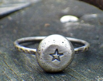 Rustic Stackers ... Star rustic stacking ring star ring sterling silver star stacking ring