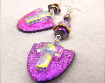 Dichroic Glass Earrings, Fused dichroic earrings, Hana Sakura, Chandelier Earrings, pink jewelry, Statement earrings, Glass fusion gifts