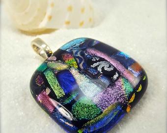 Statement jewelry, dichroic glass pendant, handmade jewelry, rainbow pendant, wedding gift, mod glass pendant, gift for her, fused glass
