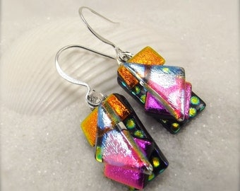Dichroic glass earrings, fused glass jewelry, dichroic, handmade, colorful jewelry, art deco earrings, glass fusion, artisan earrings, pink