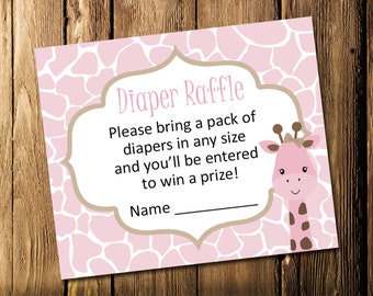 Printable Giraffe Girl Baby Shower Diaper Raffle Tickets - Instant Download