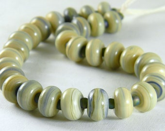 GMD lampwork glass beads opaque Lichen spacers set of 30