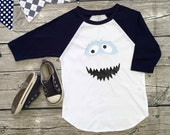 Boys Unisex Abominable Snowman Yeti Baseball T long Sleeve T Shirt White Navy Blue Gray modern graphic trendy