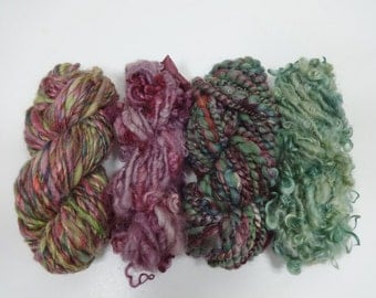 Gypsy Garden Handspun Yarn Skein Collection Art Yarn 4 mini skeins purple burgundy green