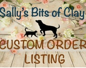 2 Black Lab Ornamets sitting with name on Bone by Sally's Bits of Clay
