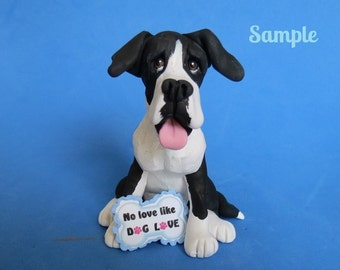 Mantle Great Dane NO LOVE like DOG Love Sculpture Clay art by Sallys Bits of Clay