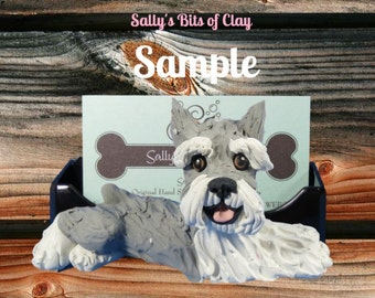 salt and pepper Schnauzer cropped ears Business Card / Cell Phone / Post It Note Holder OOAK Sculpture by Sally's Bits of Clay